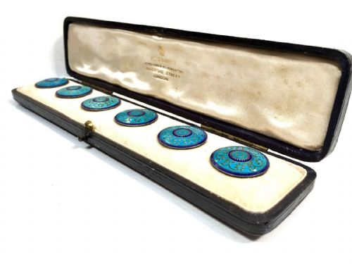 Antique Edwardian Enamel Buttons by Poile & Smith Jewellers, 520 Oxford Street